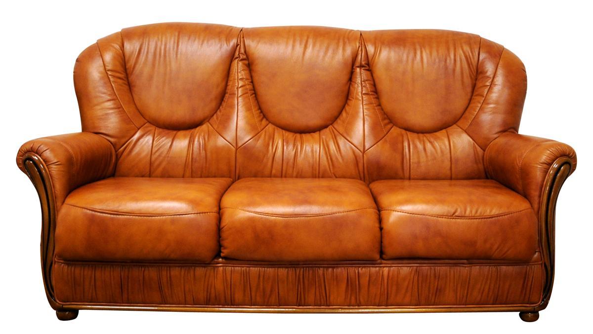 Divano classico scorniciato 3 posti cm 185x90 h cm 98 in vera pelle - Divano classico in pelle ...