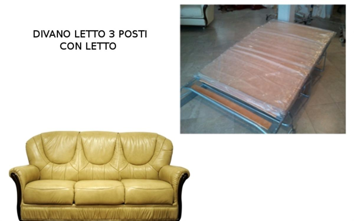 Divano letto classico scorniciato 3 posti cm 185x90 h cm 98 in vera