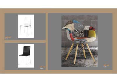Set Sedie in Stile moderno Bianco e Nero e Sedia Poltroncina in Tessuto Monteriggioni 16