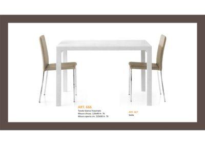 Tavolo Bianco Frassinato o Tortora cm 120x90 1 allungamento cm 100 con Sedie abbinata