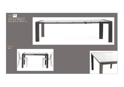 Tavolo Struttura in Metallo 1 Lunghezza e 1 allungamento e Sedia abbinata