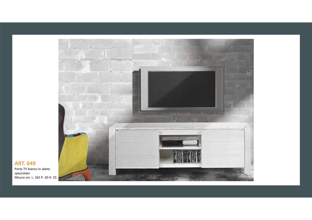 Porta TV in Abete Bianco Spazzolato Prodotto dell'Artigianato Toscano
