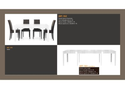 Tavolo in Bianco Frassinato 1 Lunghezza e 4 allungamenti e Sedia abbinata Monteriggioni 32