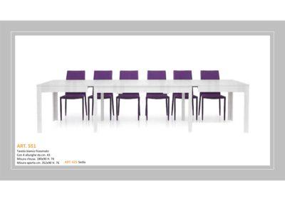 Tavolo in Bianco Frassinato 1 Lunghezza e 4 allungamenti e Sedia abbinata Monteriggioni 33