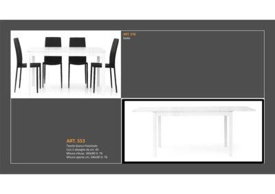 Tavolo in Bianco Frassinato 1 Lunghezza e 2 allungamenti e Sedia abbinata