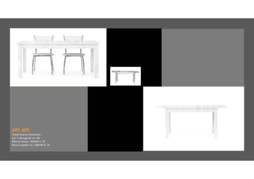 Tavolo in Bianco Frassinato 1 Lunghezza + 1 Allungamento e Sedia abbinata