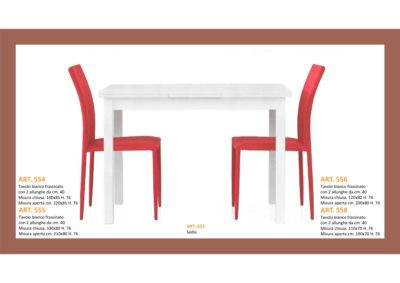 Tavolo in Bianco Frassinato 4 Lunghezze + 3 Larghezze + 2 allungamenti e Sedia abbinata