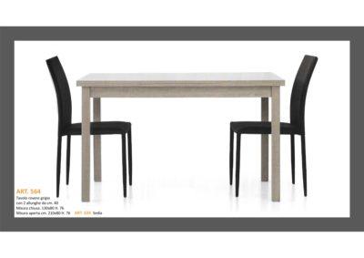 Tavolo in Rovere Grigio 1 Lunghezza + 2 allungamenti e Sedia abbinata