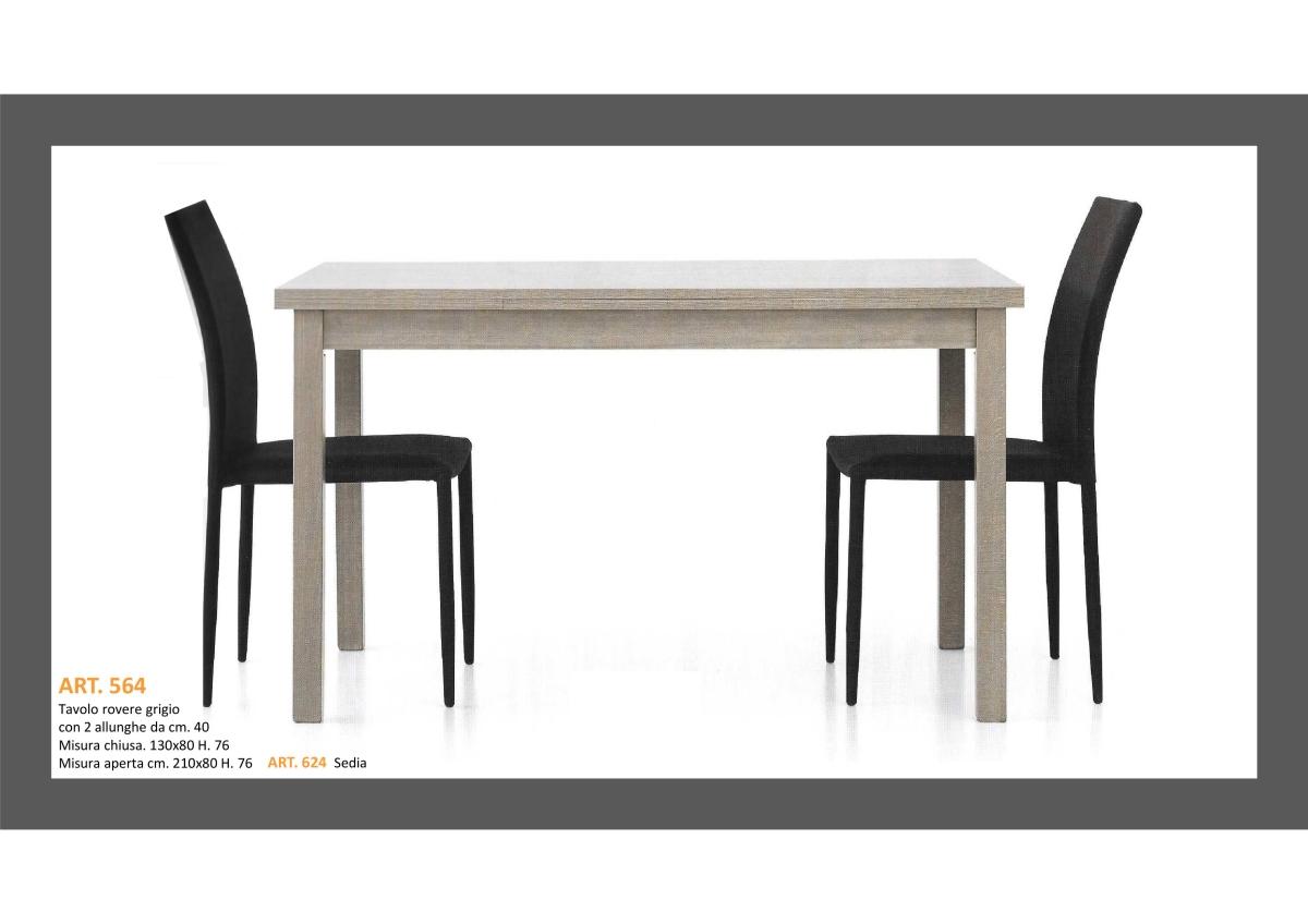 Tavolo in Rovere Grigio 1 Lunghezza + 2 allungamenti e Sedia ...
