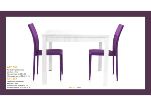 Tavolo in Bianco Frassinato in 2 misure Apertura a Libro e Sedia abbinata