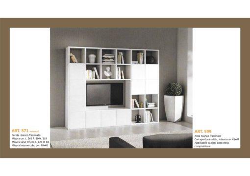 Mobile a Parete Aperto/Chiuso a cubi Bianco Frassinato cm 261x218 P cm 30 Monteriggioni 44