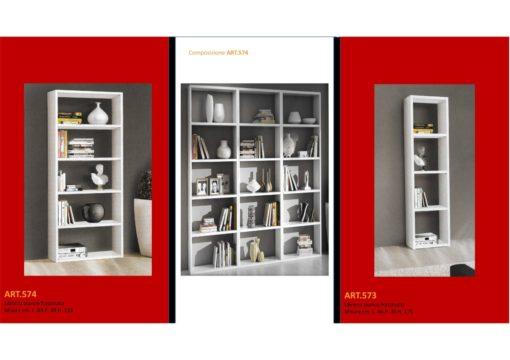 Mobile Libreria a Parete aperto a cubi Bianco Frassinato in due misure oltre a composizione a scelta