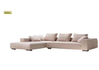 Salotto Ruth di produzione artigianale composto da: divano 2/3 posti, elemento 2/3 posti e penisola. Anche su misura. Realizzabile su tessuti indicati dal cliente.