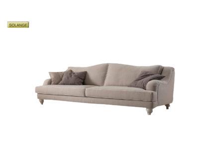 Salotto Solange di produzione artigianale composto da: divano 2/3/4 posti e poltrona. Anche su misura. Realizzabile su tessuti indicati dal cliente.