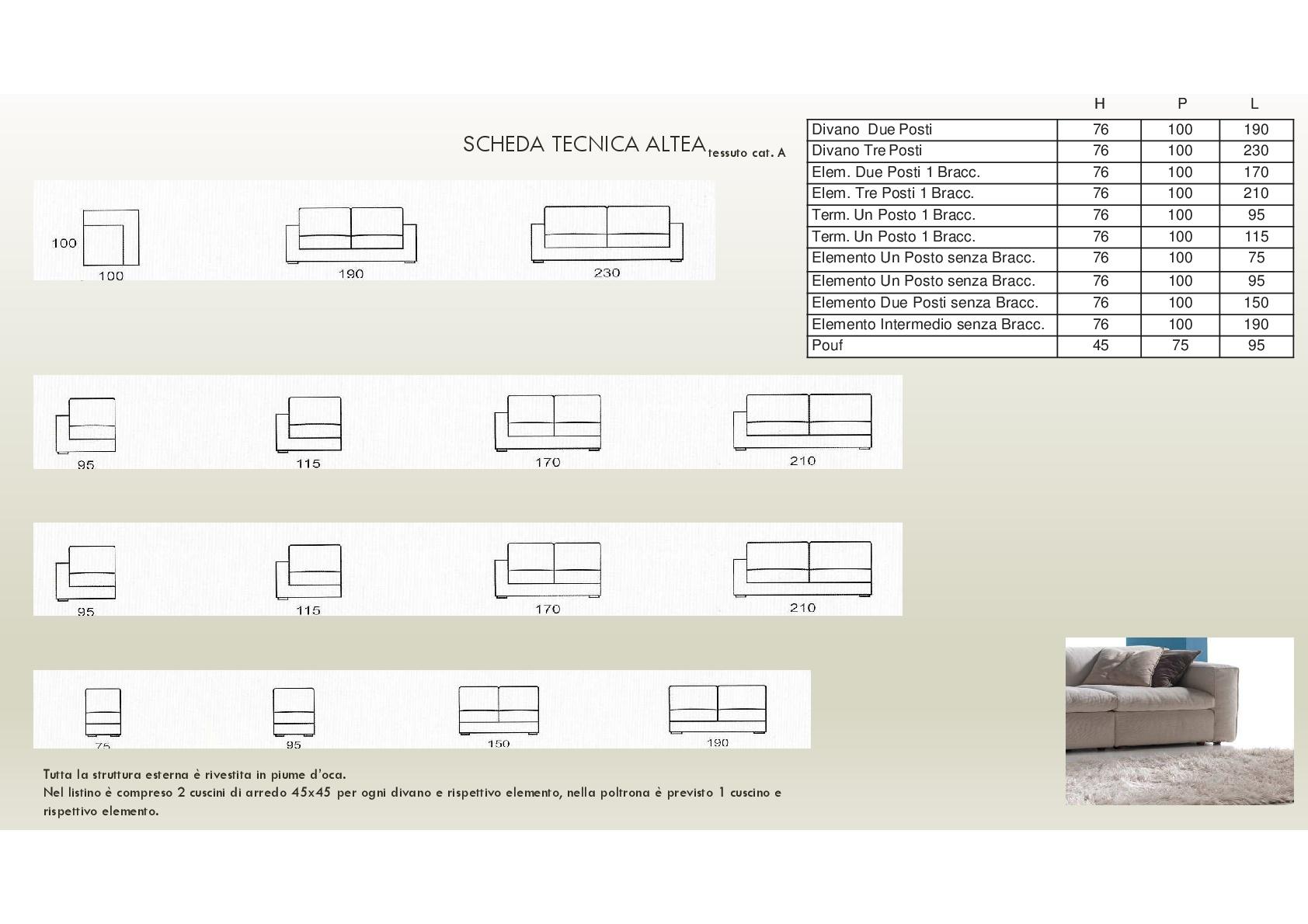 Salotto Altea di produzione artigianale composto da: divano 2/3 ...