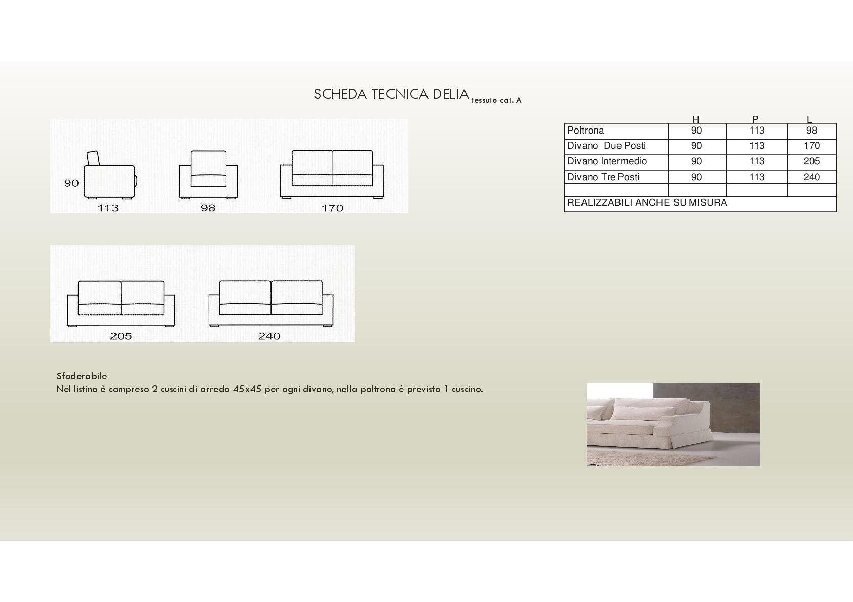 Salotto Delia di produzione artigianale composto da: divano 2/3 ...