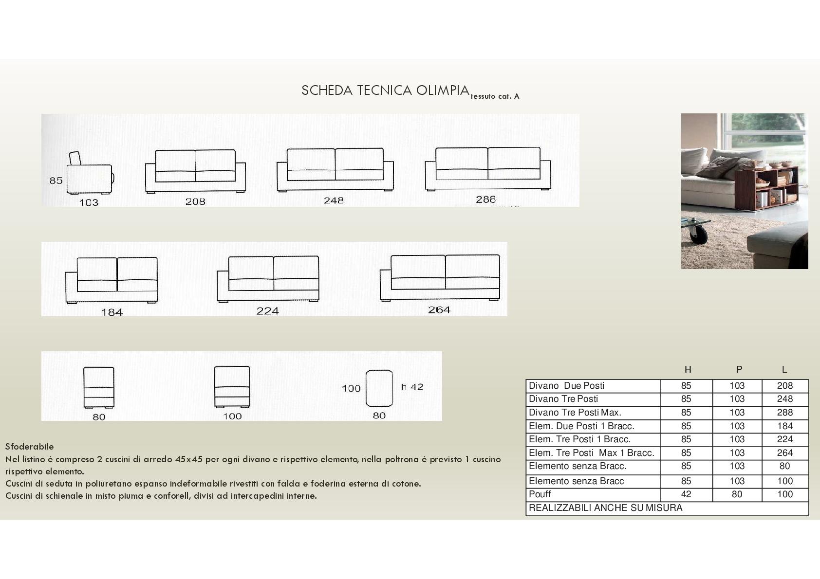 Salotto Olimpia di produzione artigianale composto da: divano 2/3 ...