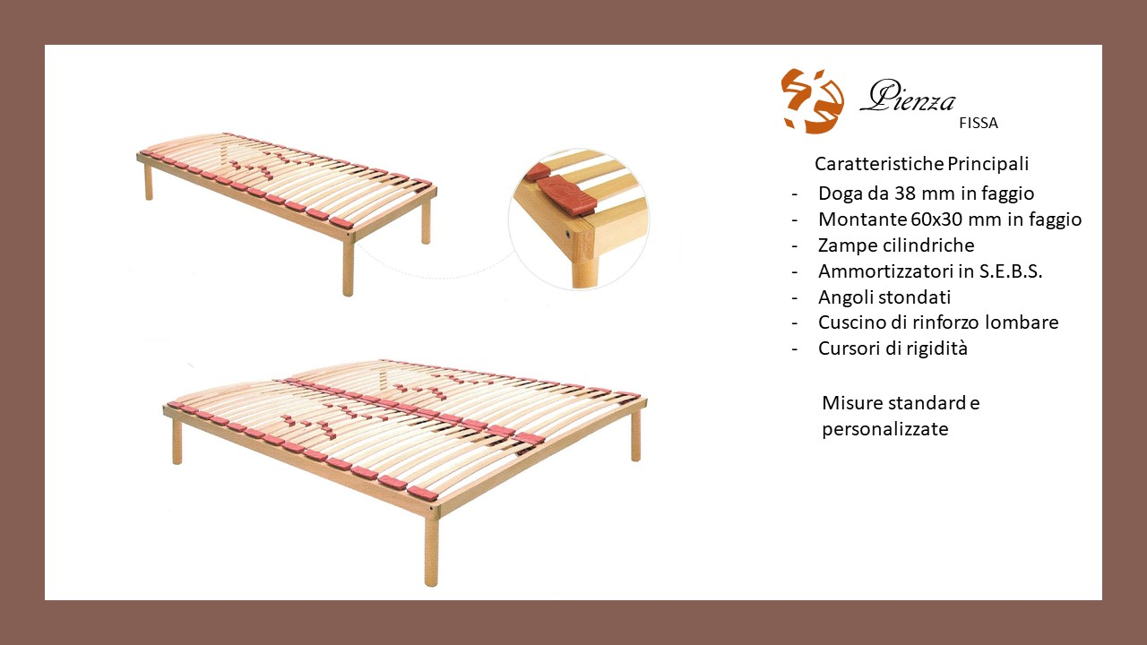 Rete fissa in faggio per letto 1 piazza e mezzo anche su - Reti letto su misura ...